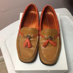 Colehaan - tan/orange leather loafers